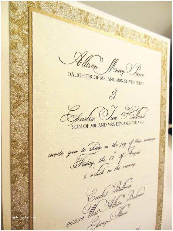 Ivory Pocketfold Wedding Invitations Ivory & Gold Wedding Invitation Custom Pocketfold