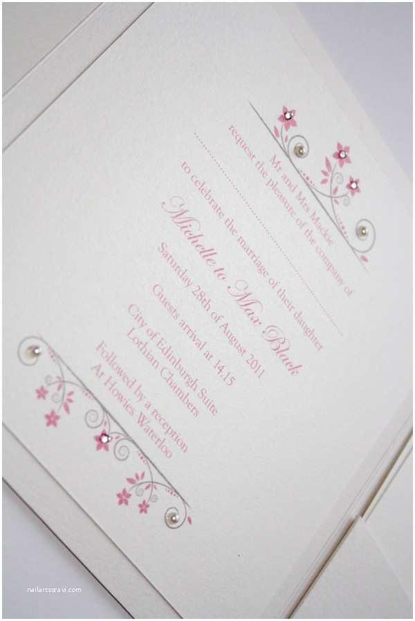 Ivory Pocketfold Wedding Invitations Ivory & Pink Vintage Style Pocketfold Wedding Invitation