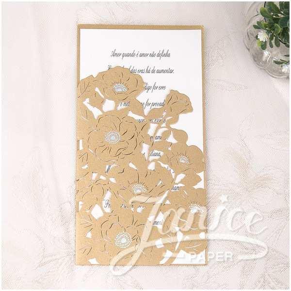 Ivory Pocketfold Wedding Invitations Ivory Vertical Laser Cut Flower Pocket Wedding Invitations