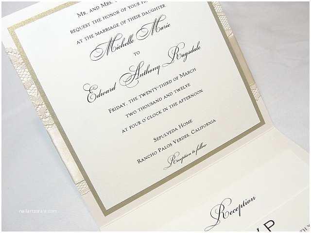 Ivory Pocketfold Wedding Invitations Lace Wedding Invites Lace Wedding Invitations