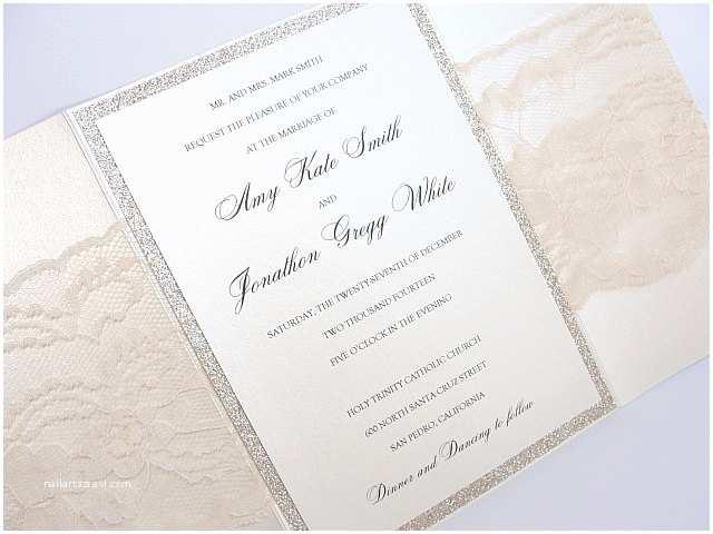 Ivory Pocketfold Wedding Invitations Lace Wedding Invites