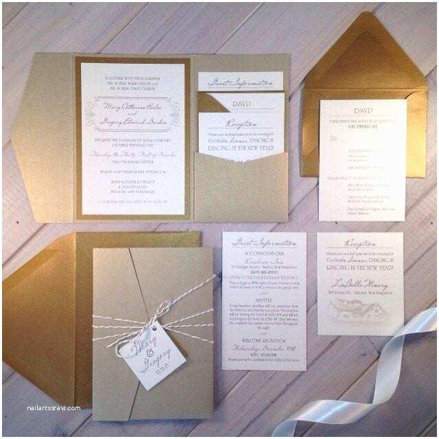 Ivory Pocketfold Wedding Invitations Light Gold Wedding Invitations Champagne Wedding