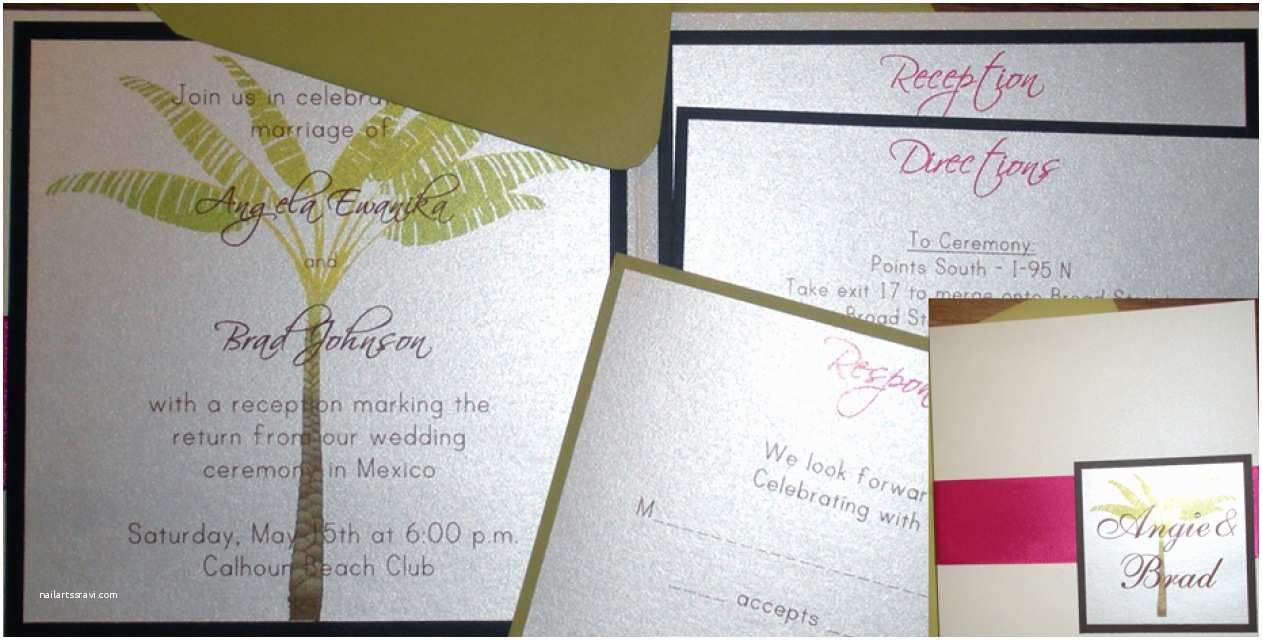 Ivory Pocketfold Wedding Invitations Palm Tree Pocketfold Wedding Invitation Ivory Pink and