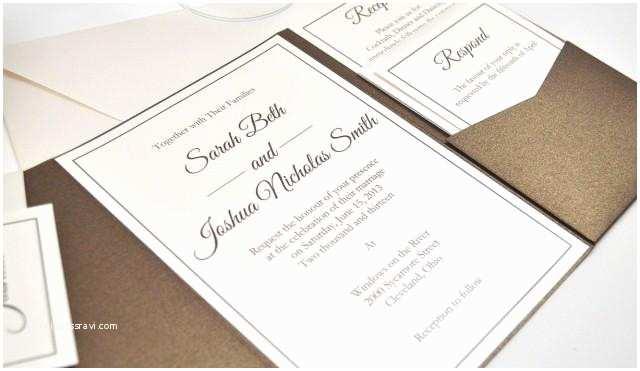 Ivory Pocketfold Wedding Invitations Pocketfold Wedding Invitation Wedding Invitation Bronze