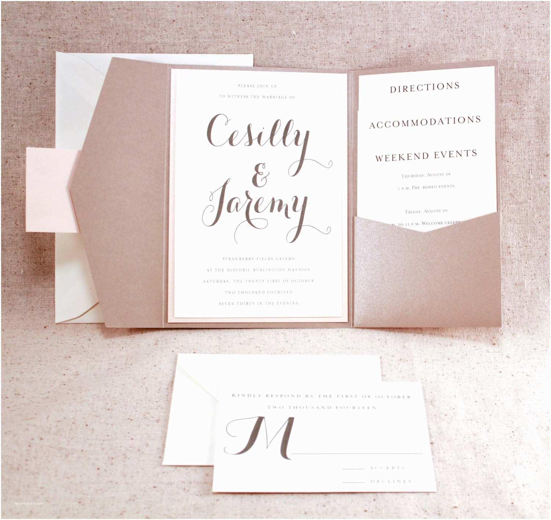 Ivory Pocketfold Wedding Invitations Wedding Invitation Set sophisticated Elegance by