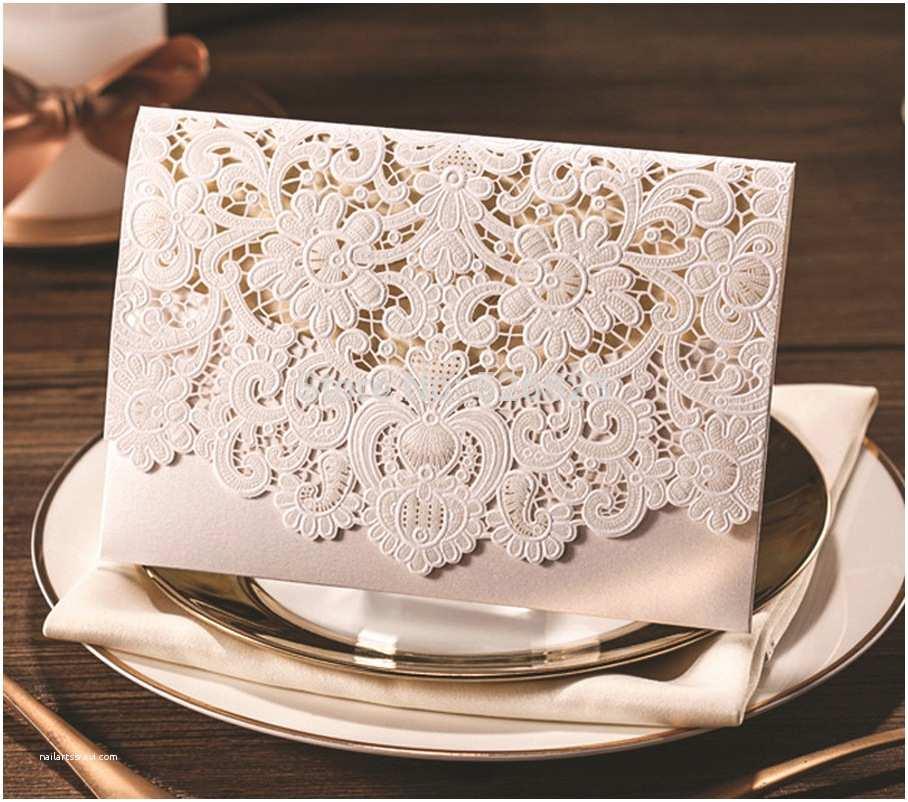 Ivory Wedding Invitations Aliexpress Buy Ivory Lace Pearl Wedding Invitation