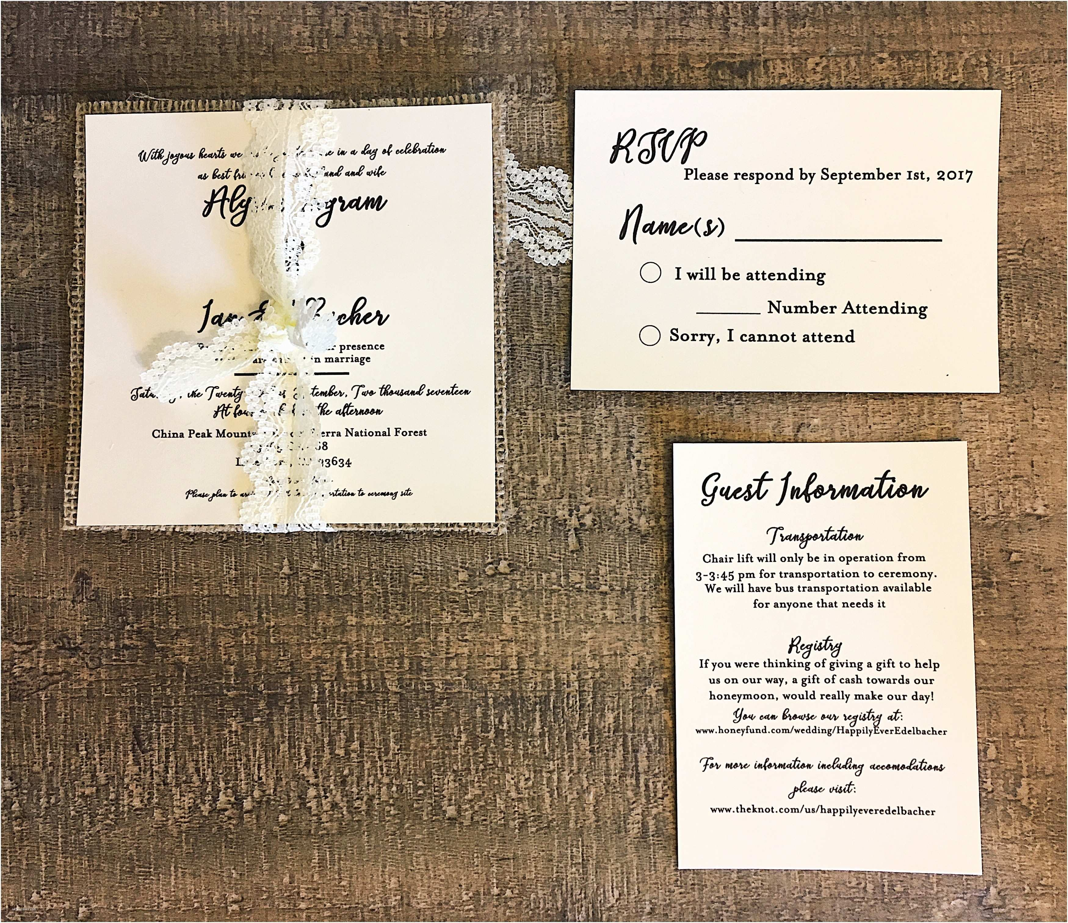 Ivory Wedding Invitations Black & Ivory Wedding Invitations with Lace