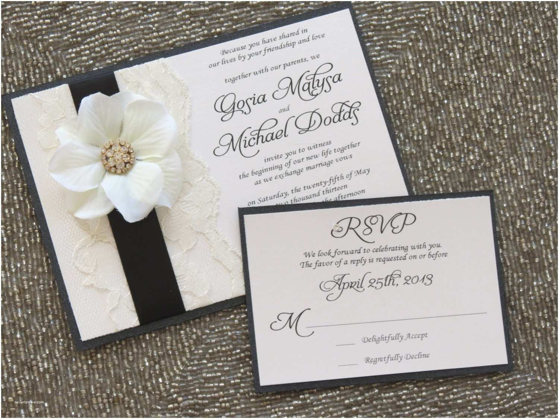 Ivory Wedding Invitations Blair Black and Ivory Lace Wedding Invitation Flower