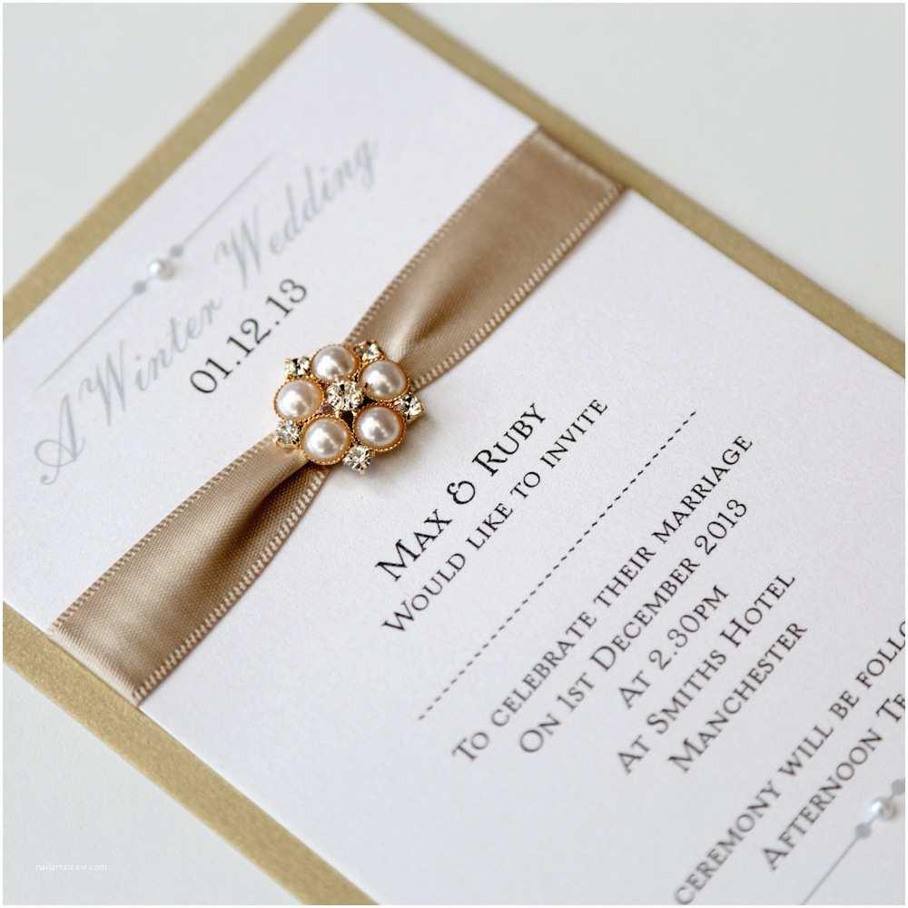 Ivory Wedding Invitations Gold & Ivory Flat Wedding Invitation with Pearl Brooch