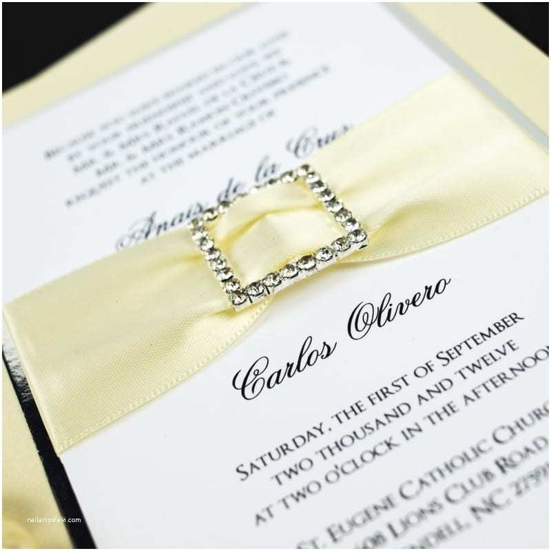 Ivory Wedding Invitations Ivory Rhinestone Buckle Wedding Invitations too Chic