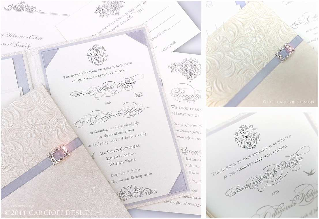 Ivory Wedding Invitations Silver and Ivory Letterpress Invitation