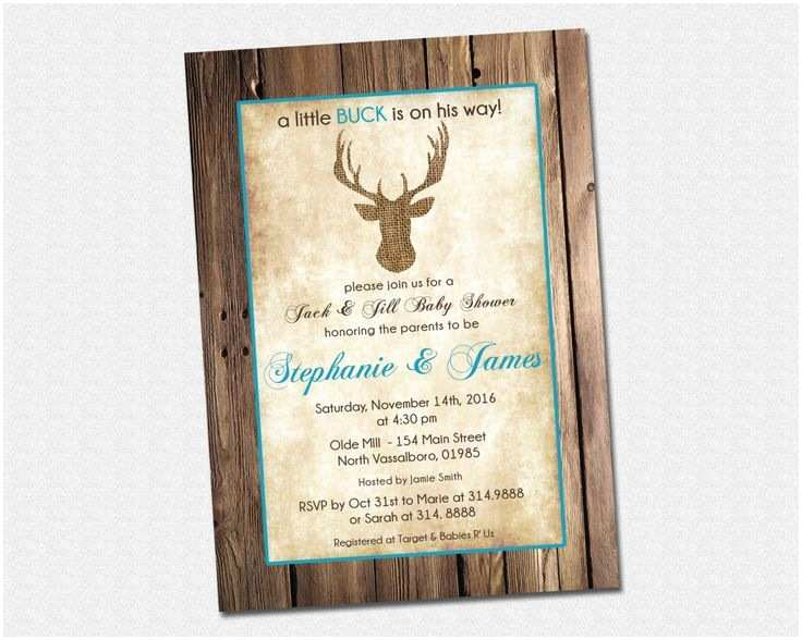 Jack and Jill Baby Shower Invitations Little Buck Deer Jack and Jill Baby Shower Invitation