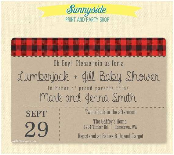 Jack and Jill Baby Shower Invitations Lumberjack & Jill Baby Shower Invitation by