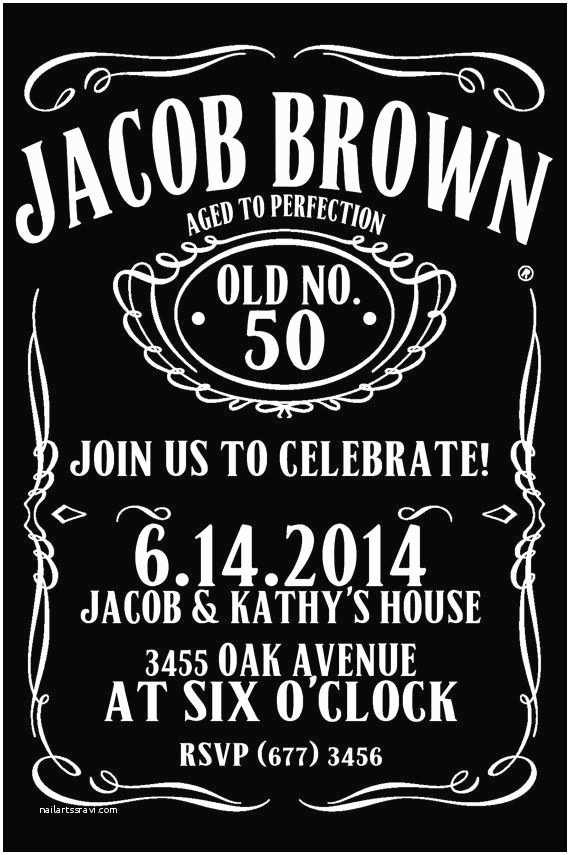 Jack Daniels Wedding Invitations Jack Daniels Style Birthday Invitation 50th by