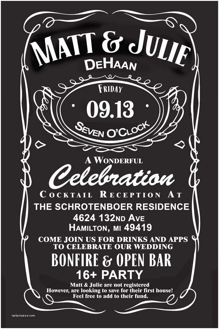 Jack Daniels Wedding Invitations Jack Daniels Wedding Invites Custom for Our Wedding