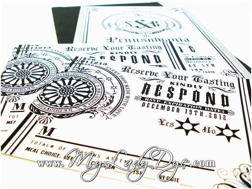 "Jack Daniels Wedding Invitations My Lady Dye Handcrafted Stationery the ""signature Blend"