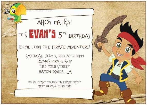 Jake and the Neverland Pirates Birthday Invitations Custom Jake and the Neverland Pirates Invitation Pirate