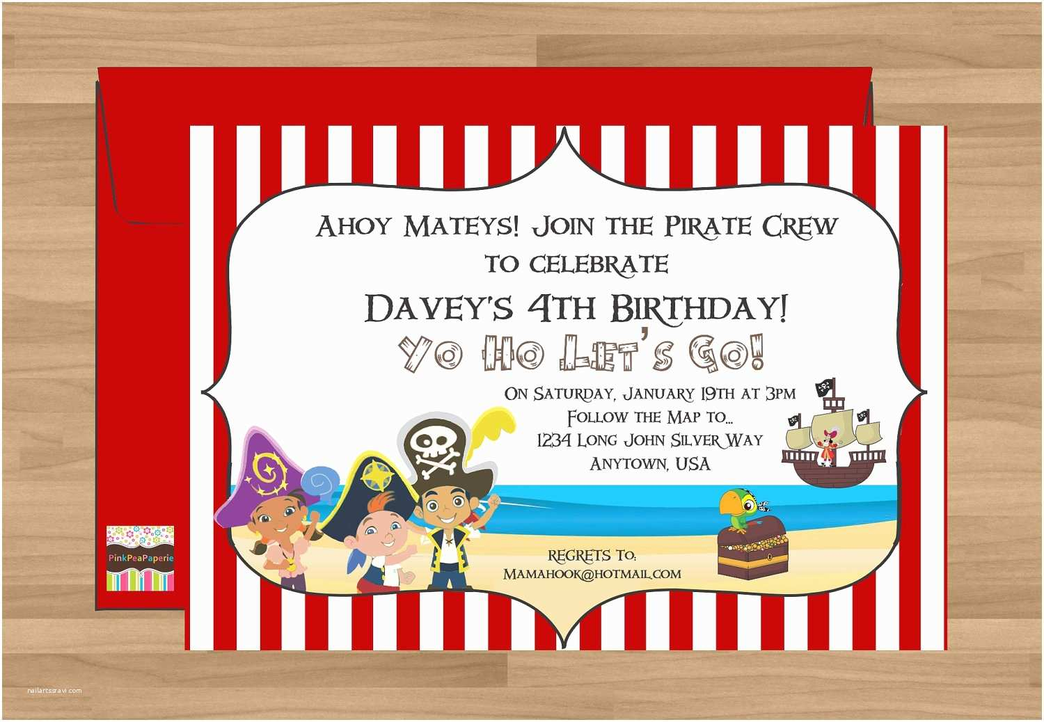 Jake And The Neverland Pirates Birthday Invitations Free Printable Template