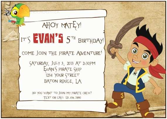 Jake and the Neverland Pirates Birthday Invitations Items Similar to Custom Jake and the Neverland Pirates