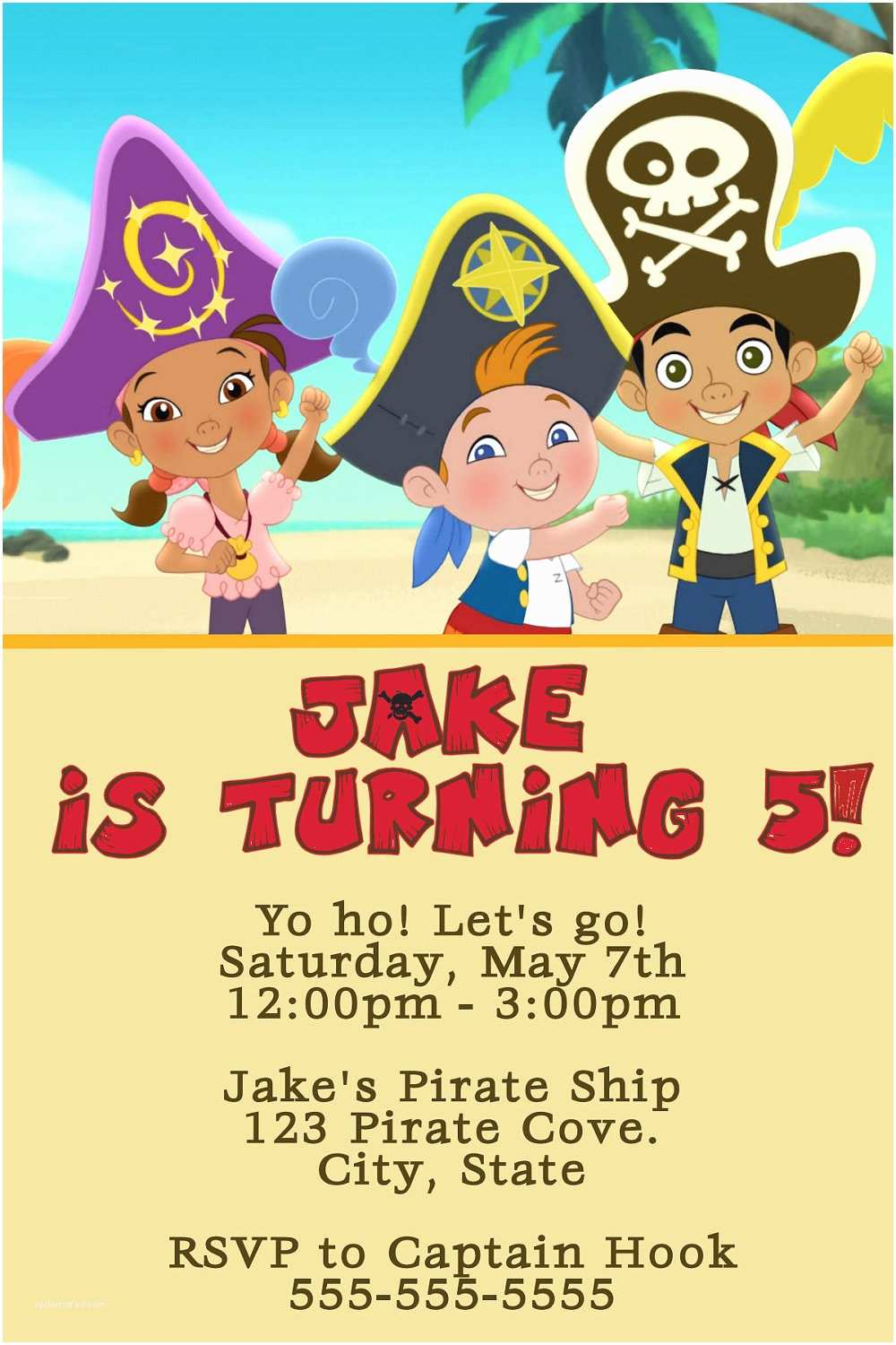 Jake and the Neverland Pirates Birthday Invitations Jake and the Neverland Pirates Digital Invitation by