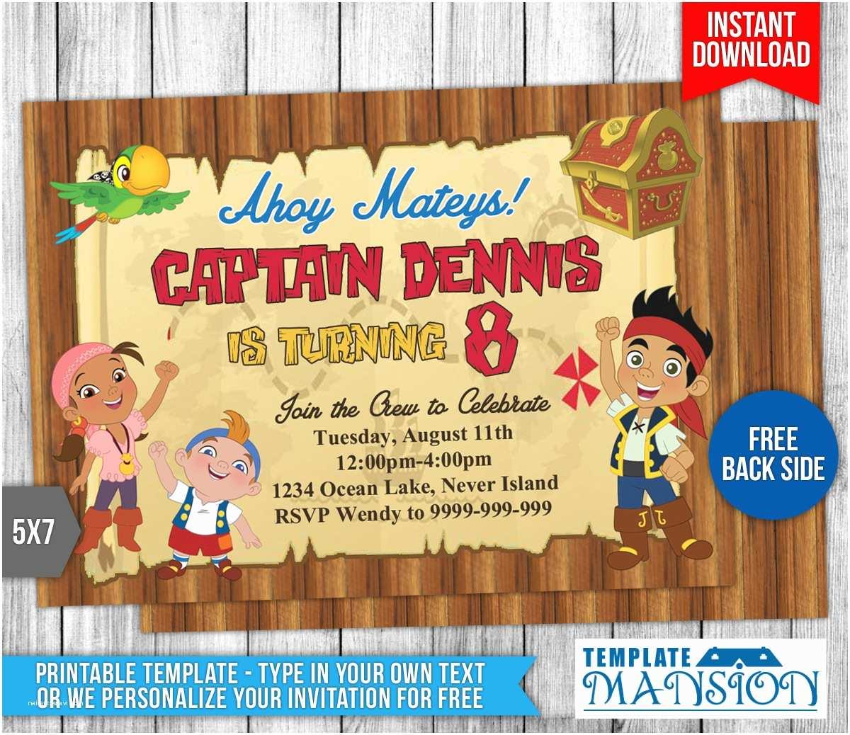 Jake and the Neverland Pirates Birthday Invitations Jake and the Neverland Pirates Invitation 2 by