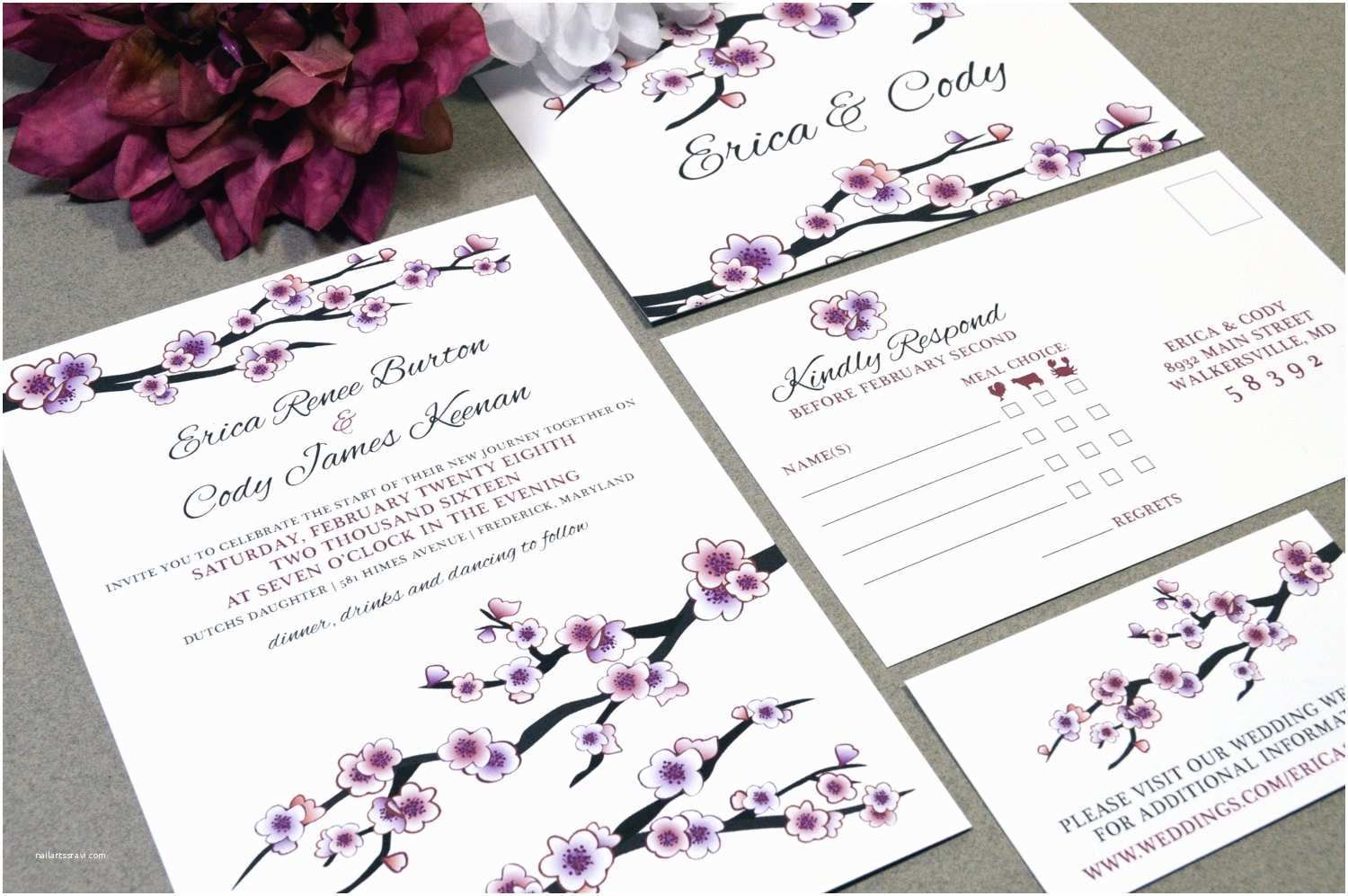 Japanese Cherry Blossom Wedding Invitations Cherry Blossom Wedding Invitations Pink and Purple Invite