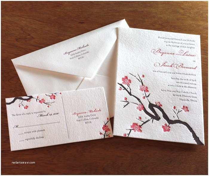 Japanese Cherry Blossom Wedding Invitations Incorporating Custom themes Into Wedding Invitations