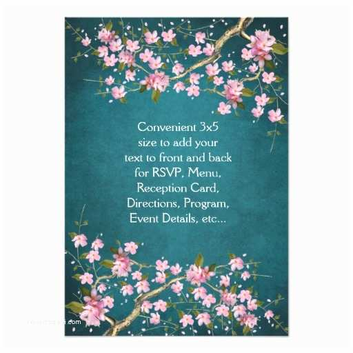 Japanese Cherry Blossom Wedding Invitations Jade Pink Japanese Cherry Blossoms Wedding 3 5x5 Paper