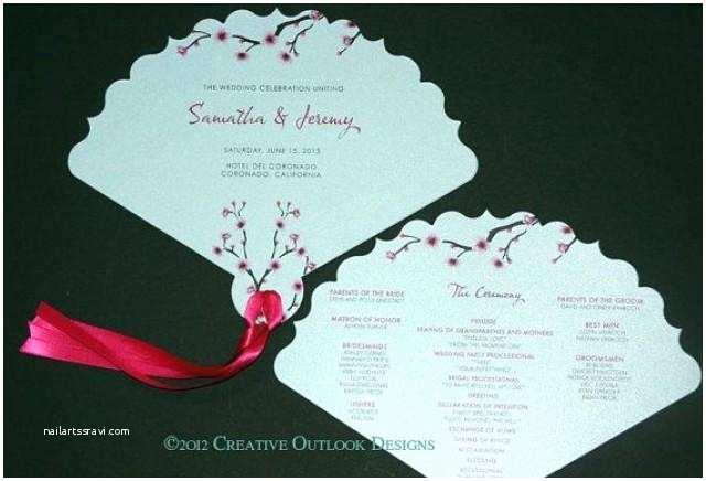 Japanese Cherry Blossom Wedding Invitations Japanese Cherry Blossom Flower theme Wedding Ceremony Fan