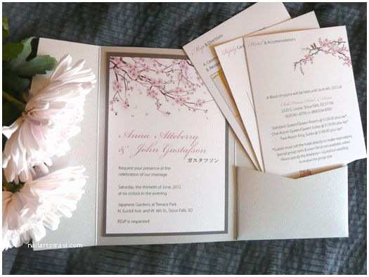 Japanese Cherry Blossom Wedding Invitations Japanese Cherry Blossom Wedding Invitation Pockets by