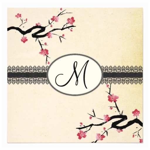 Japanese Cherry Blossom Wedding Invitations Monogram Japanese Cherry Blossom Wedding Invitation