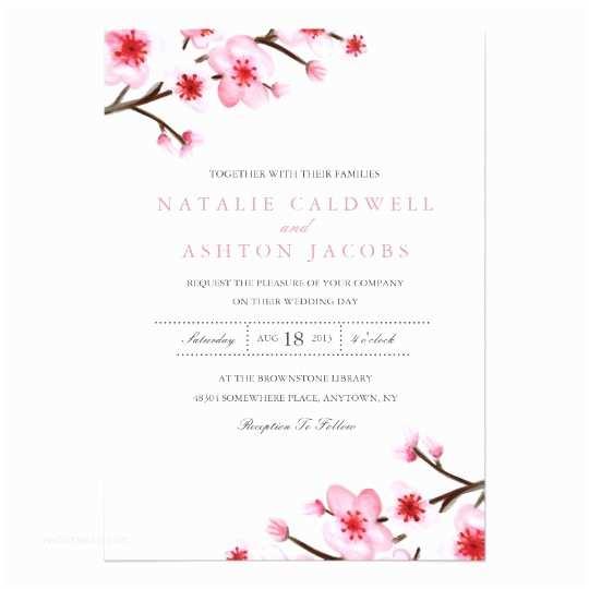 Japanese Cherry Blossom Wedding Invitations Painted Cherry Blossoms Wedding Invite