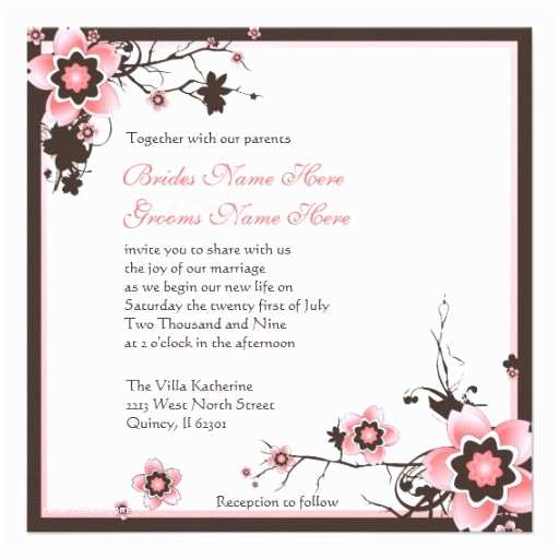 Japanese Cherry Blossom Wedding Invitations Pink and Brown Cherry Blossom Wedding Invitation 5 25
