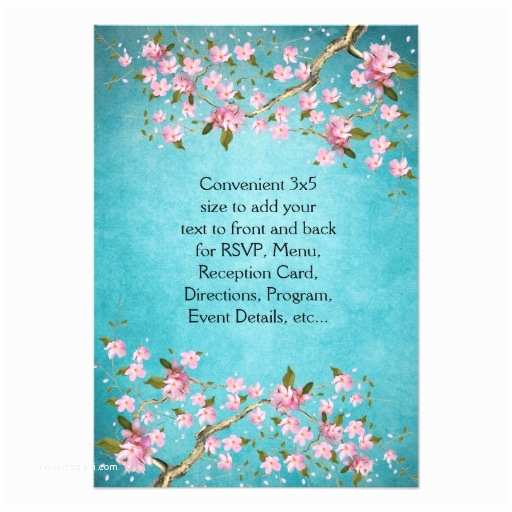 Japanese Cherry Blossom Wedding Invitations Teal Blue Pink Japanese Cherry Blossoms Wedding 3 5x5