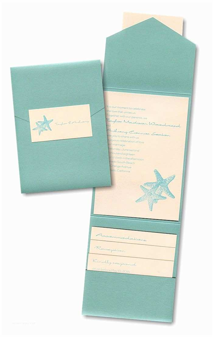 Jean M Wedding Invitations Seaside Duet Pocket Wedding Invitation
