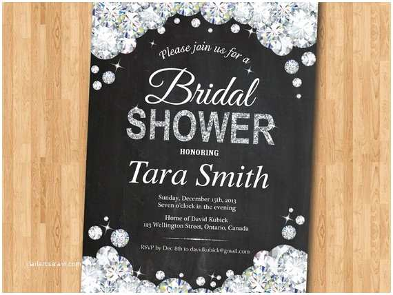 Jeweled Wedding Invitations Bridal Shower Invitation Bling Glam Glitter Diamond Bridal