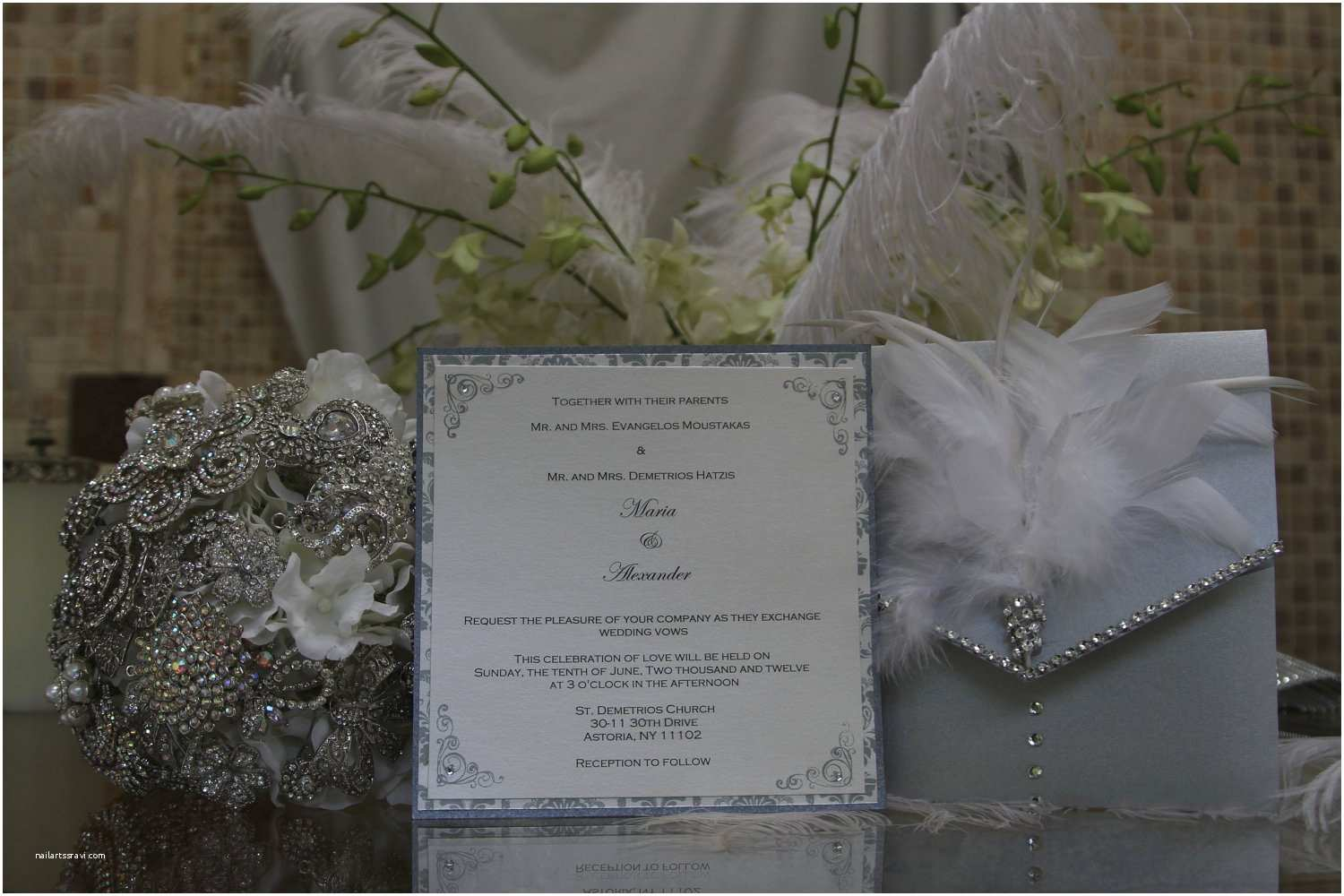Jeweled Wedding Invitations Feather Wedding Invitation Rhinestone by Magicbeyondmidnight