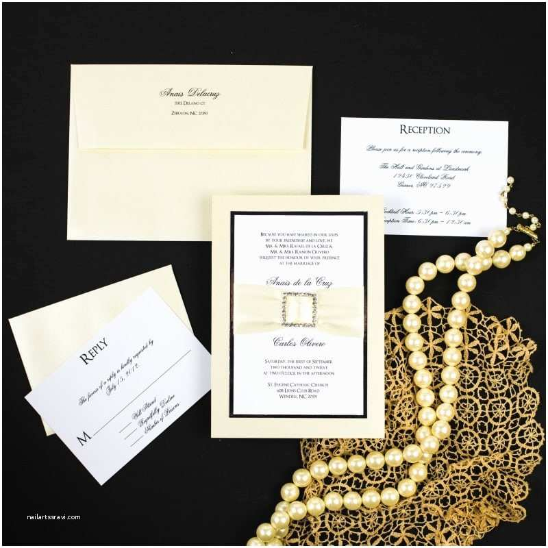 Jeweled Wedding Invitations Ivory Rhinestone Buckle Wedding Invitations too Chic