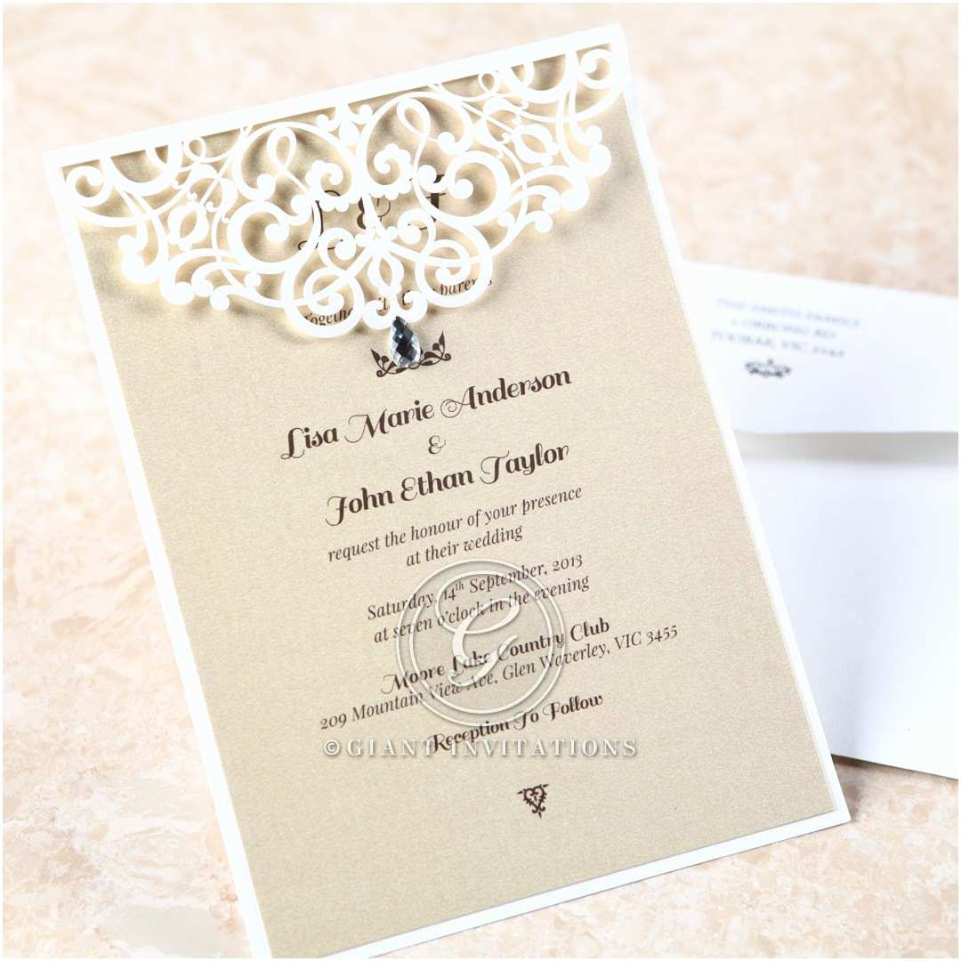 Jeweled Wedding Invitations Jeweled Laser Cut Modern Wedding Invitations