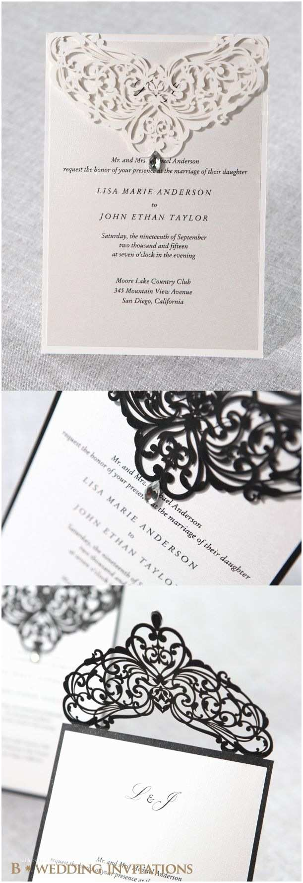 Jeweled Wedding Invitations Jeweled Romance Laser Cut by B Wedding Invitations