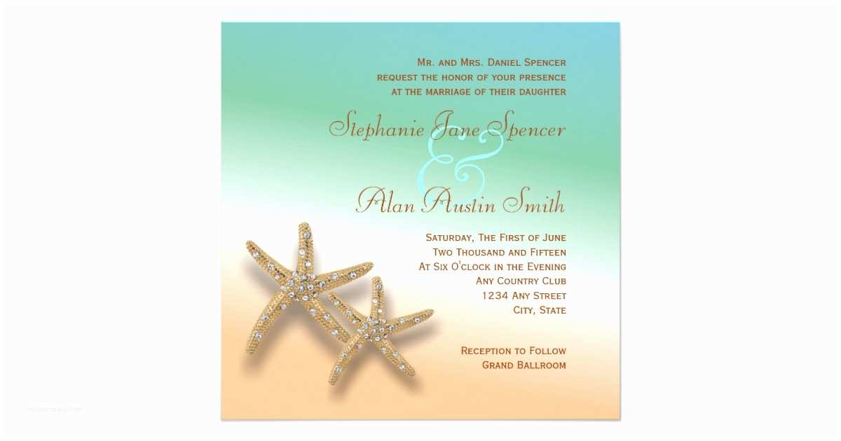 Jeweled Wedding Invitations Jeweled Starfish Wedding Invitation