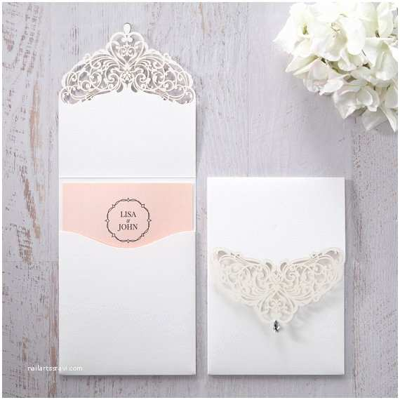 Jeweled Wedding Invitations Jeweled White Lasercut Pocket Iwp Pk Wedding