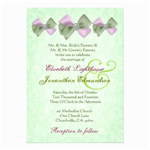 Jeweled Wedding Invitations Pink and Sage Green Jeweled Bows Wedding 5x7 Paper