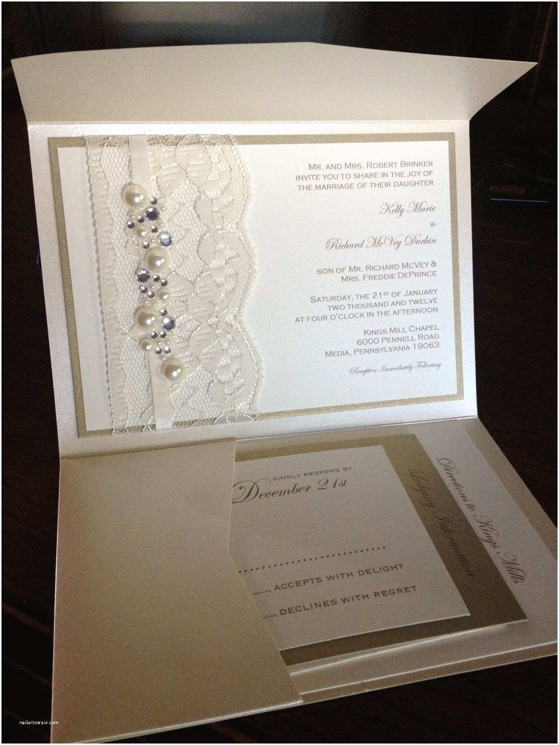 Jeweled Wedding Invitations Sample Lace and Rhinestone Wedding Invitation Rsvp Card