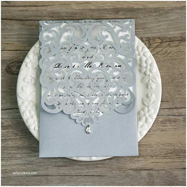 Jeweled Wedding Invitations Silver Laser Cut Rhinestone Wedding Invites Ewws068 as Low