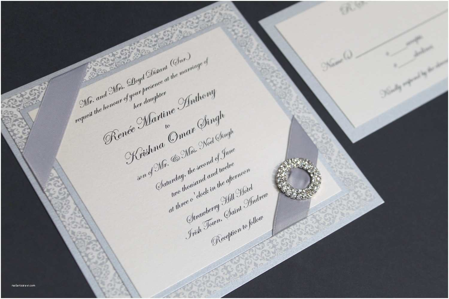 Jeweled Wedding Invitations Silver Wedding Invitation Square Invite Rhinestone