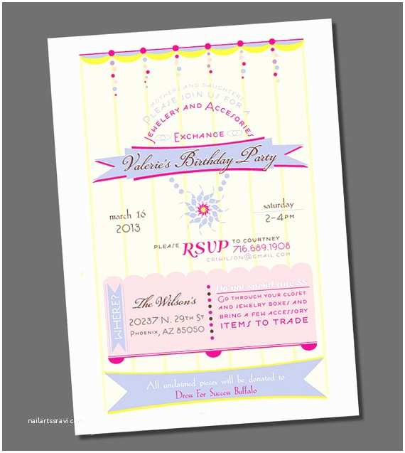 Jewelry Party Invitation Printable Jewelry Party Invitation Birthday by