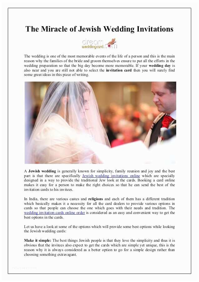 Jewish Wedding Invitations Online the Miracle Of Jewish Wedding Invitations