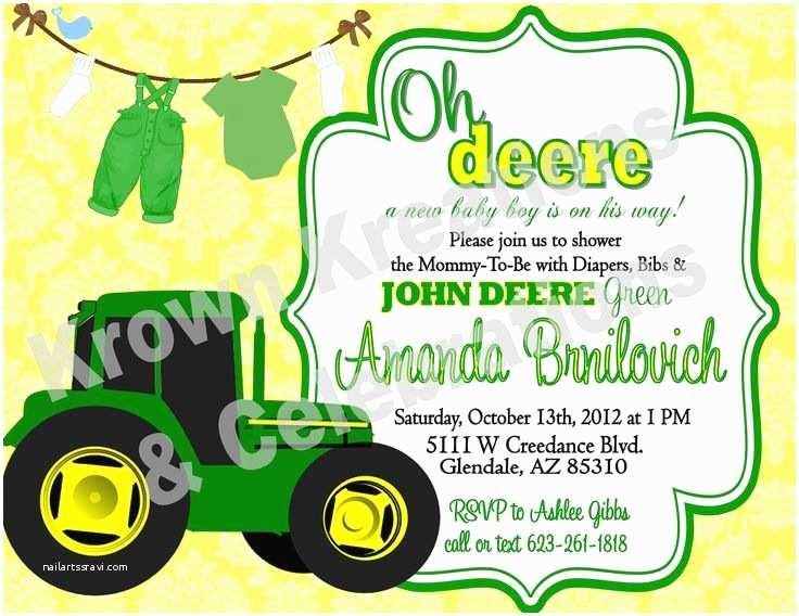 John Deere Baby Shower Invitations Baby Shower Invitation John Deere Baby Shower Invitations