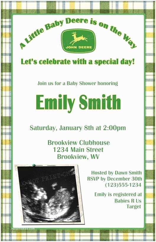 John Deere Baby Shower Invitations Personalized Invitations